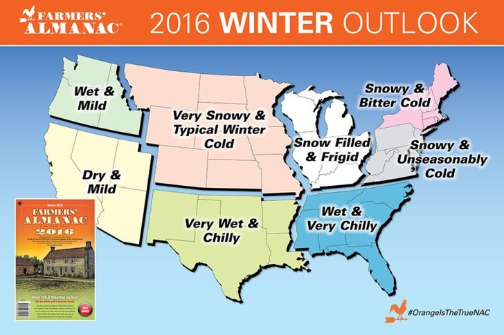 Карта Farmers Almanac Winter 2016